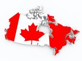 Canada flag on 3d map — Stock Photo