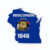 Wisconsin state flagga på 3d-karta — Stockfoto
