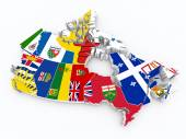 Canada provincies op 3d kaart — Stockfoto
