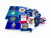 Map usa midwest region new — Stock Photo