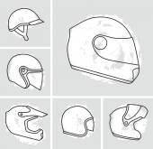 オートバイ ヘルメット ベクター セット — ストックベクタ