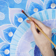 Abstract blue painted picture with circle pattern, mandala of Vi — Stock Photo #69614727