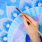 Abstract blue painted picture mandala of Vishuddha chakra — Stock Photo #69818749
