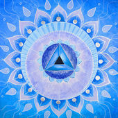 Abstract blue painted picture mandala of Vishuddha chakra — Stock Photo