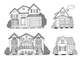 Hand drawn houses vector — Stock Vector