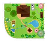 House with garden layout, vector — Stock Vector