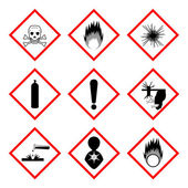 Warning labels of chemicals - icon set — Stock Vector