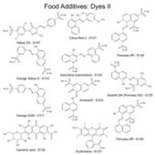 Food dyes - structural chemical formulas of food additives — 图库矢量图片