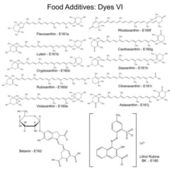 Food dyes - structural chemical formulas of food additives — Stock vektor