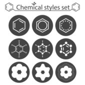 Chemical style icon set on round gray plates — Vecteur