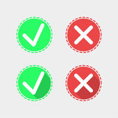 Check mark flat icons on gray background — Stock Vector