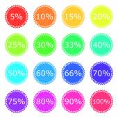 Discount labels color icon set — Stock Vector