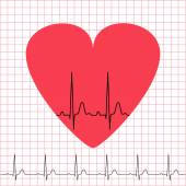Heart icon with electrocardiogram on grid background — Stock Vector