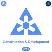 Logo conception of development and construction — Stock Vector