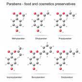 Parabens -  preservatives, 3d models — Stock Vector