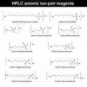 HPLC anionic ion pair reagents — Stock Vector