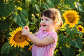 The little girl in the sunflowers — Stock Photo