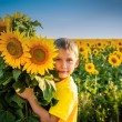 Childhood in the sunflowers — Stock Photo #70174711