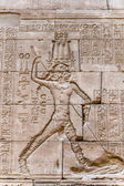 Authentic Hieroglyphic illustration of the Egyptian god on the wall in a temple — Stock Photo