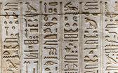 Egyptské hieroglyfy na zdi chrámu Horovi v Egyptě — Stock fotografie