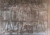 Egyptian hieroglyphs on the wall in the Sobek temple in Kom Ombo, Egypt — ストック写真
