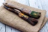 Old paintbrushes used — Photo