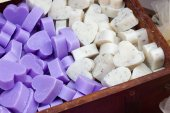 Bars of soap in the shape of heart — Stock Photo