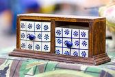 Small compartment in a vintage flea market — Stock Photo