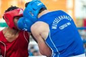 A boxing match Osleys Iglesias, Cuba and Salah Mutselkhanov, Russia. Victory Osleys Iglesias — Stock Photo