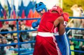 Una boxe match osleys iglesias, cuba e salah mutselkhanov, russia. vittoria osleys iglesias — Foto Stock