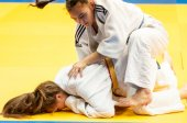 The duel of the two judokas — Stok fotoğraf
