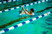 Female synchronized swimming — Stock Photo