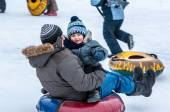 Baby winter sledding on the Ural River, — Stock Photo