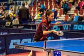 Girl playing table tennis — Stock Photo