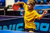 Girl playing table tennis — Stock Photo