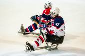 Game in ice sledge hockey — Stock Photo