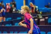 Girl playing table tennis, — Stock Photo