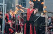 The girls performed a dance with burning torches, — Stock Photo