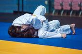 Judo competitions among girls, Orenburg, Russia — Stock Photo