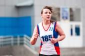 Girls compete in the run, Orenburg, Russia — Stockfoto