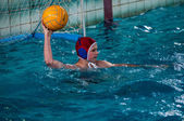 The boys play in water polo — Stock Photo