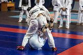 The boys compete in the Kobudo — Stock Photo