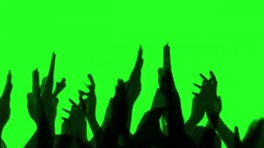 Cheering crowd happy clapping their hands, Green screen — Stock Video