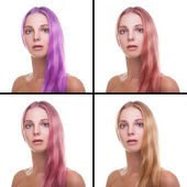 Young woman with different colors of hair — Stock Photo