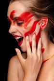 Fashion art paint make up on beautiful girl — Stock Photo