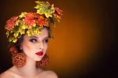 Autumn fashion portrait vintage toning — Stock Photo
