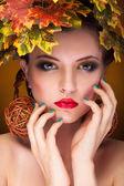 Portrait of beautiful woman autumn concept — Stock Photo