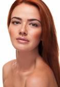 Beautiful red head girl with big sensual lips — Stock Photo
