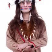 Hommes autochtones d'amérique isolés sur fond blanc — Photo