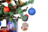 Christmas ornaments in tree isolated — Stock Photo